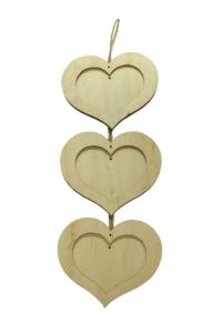 Rámečky závěsné tvar 3 srdce